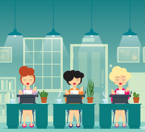 Graphic of women at office desk