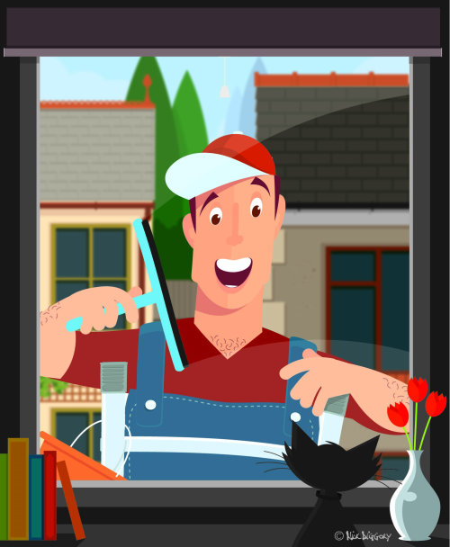Graphic art of man cleaning windows