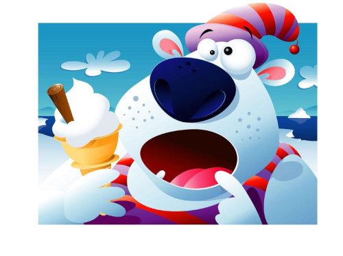 Ilustração de embalagem de urso polar para sorvete