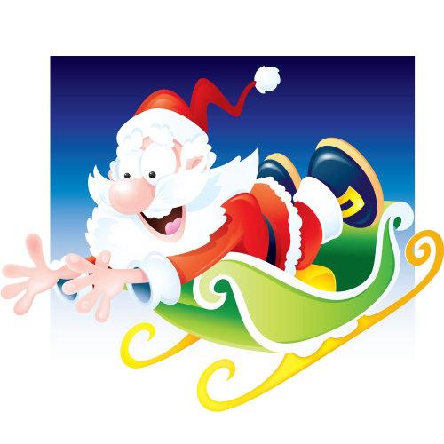 children sliding santa