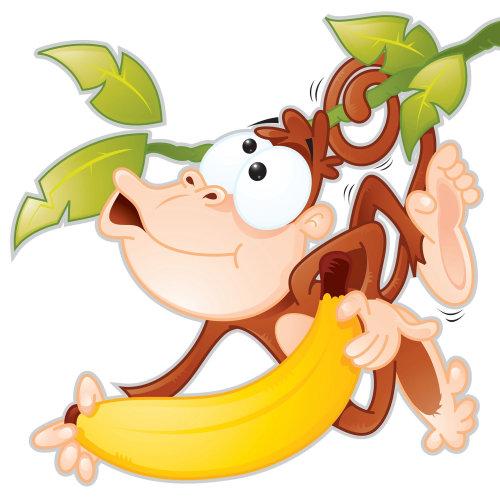 Digital Illustration of monkey with banana