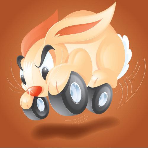Digital Illustration of bunny with wheels
