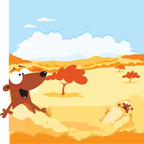 Digital Illustration of animals in forest