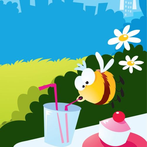 Digital Illustration of honey bee drinking