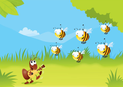 Digital Illustration of honey bee and ant