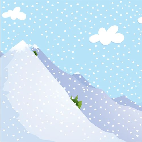 Digital Illustration of snowy mountain