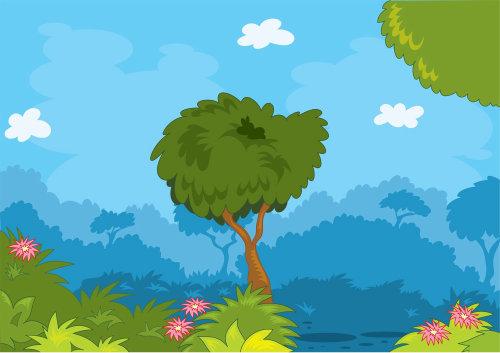 Digital Illustration of tree in forest