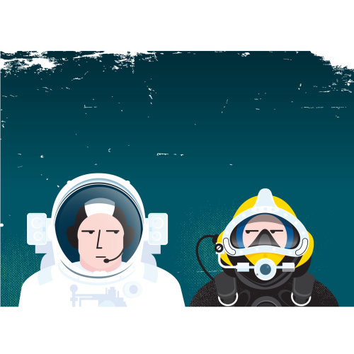 Technical illustration of astronaut and underwater diver