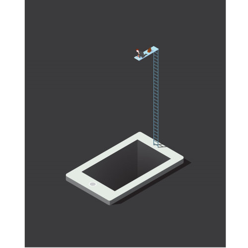 Vector graphic man jumping into iphone