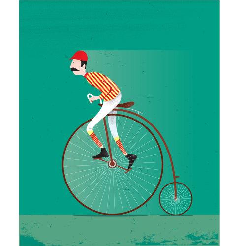 Vector man cycling