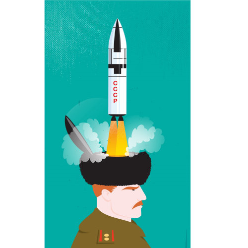 Digital Illustration missile out of person head