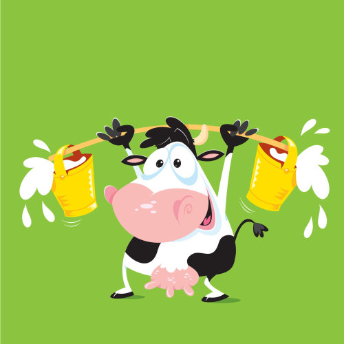 Digital Illustration cow with milk cans