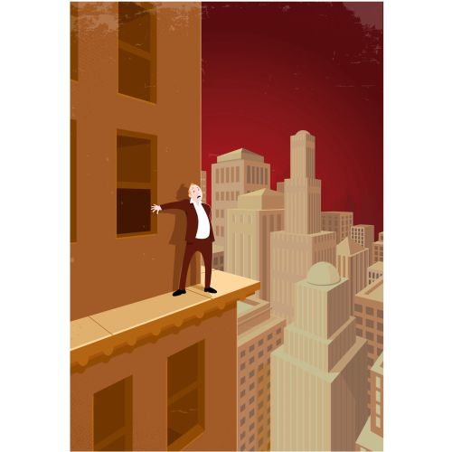 Digital Illustration man standing on building
