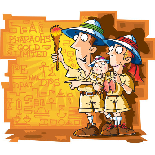 Digital Illustration of family treasure hunters
