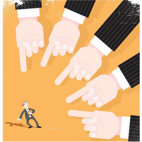 Digital Illustration hands pointing a man