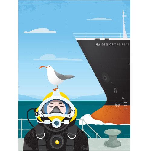 Digital Illustration pigeon on divers head