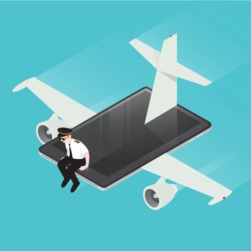 Digital Illustration mobile aeroplane