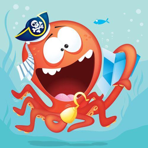 Digital Illustration pirate octopus