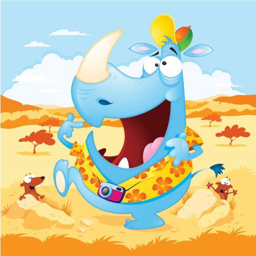 Digital Illustration cartoon & Humour Hippo