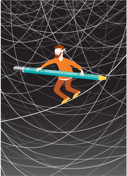 Digital Illustration blindfolded man balancing