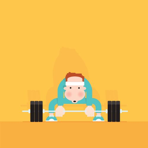 Digital Illustration of man lifting weighs