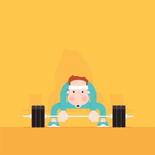 Digital Illustration of man lifting weighs