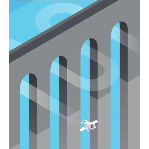 Digital Illustration of aeroplane travelling through bridge