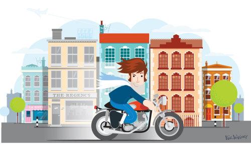 Digital Illustration of boy riding motor cycle