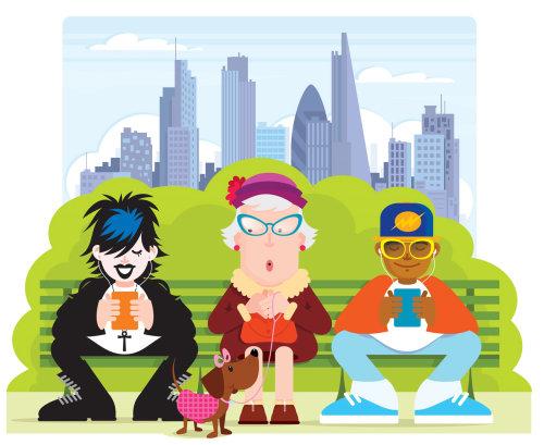 Digital Illustration People sitting in park