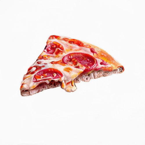 Pepperoni pizza slice study