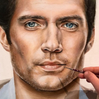 Detail view of Henry Cavill Superman portrait