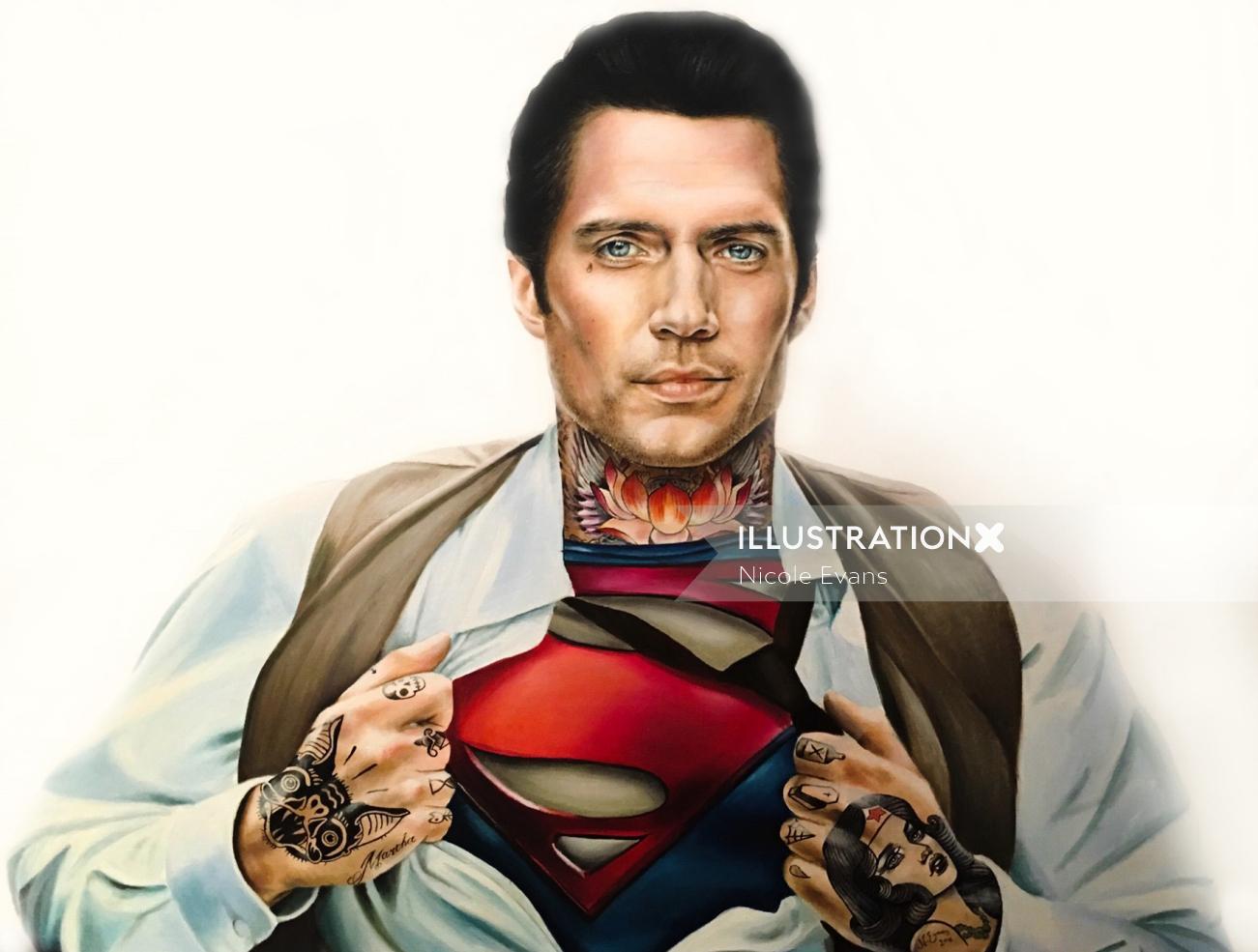 Portrait of Henry Cavill's Superman heavily tattooed.