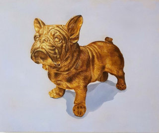 Photorealistic painting of a golden french bulldog