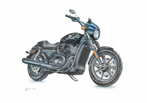 Realistic painting of Harley Davidson Motorcycle