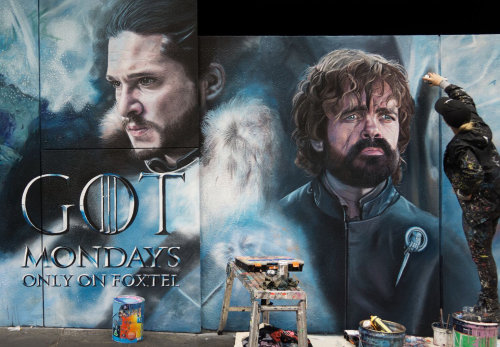 Work-in-progress image of Game of Thrones mural featuring Jon Snow and Tyrion Lannister