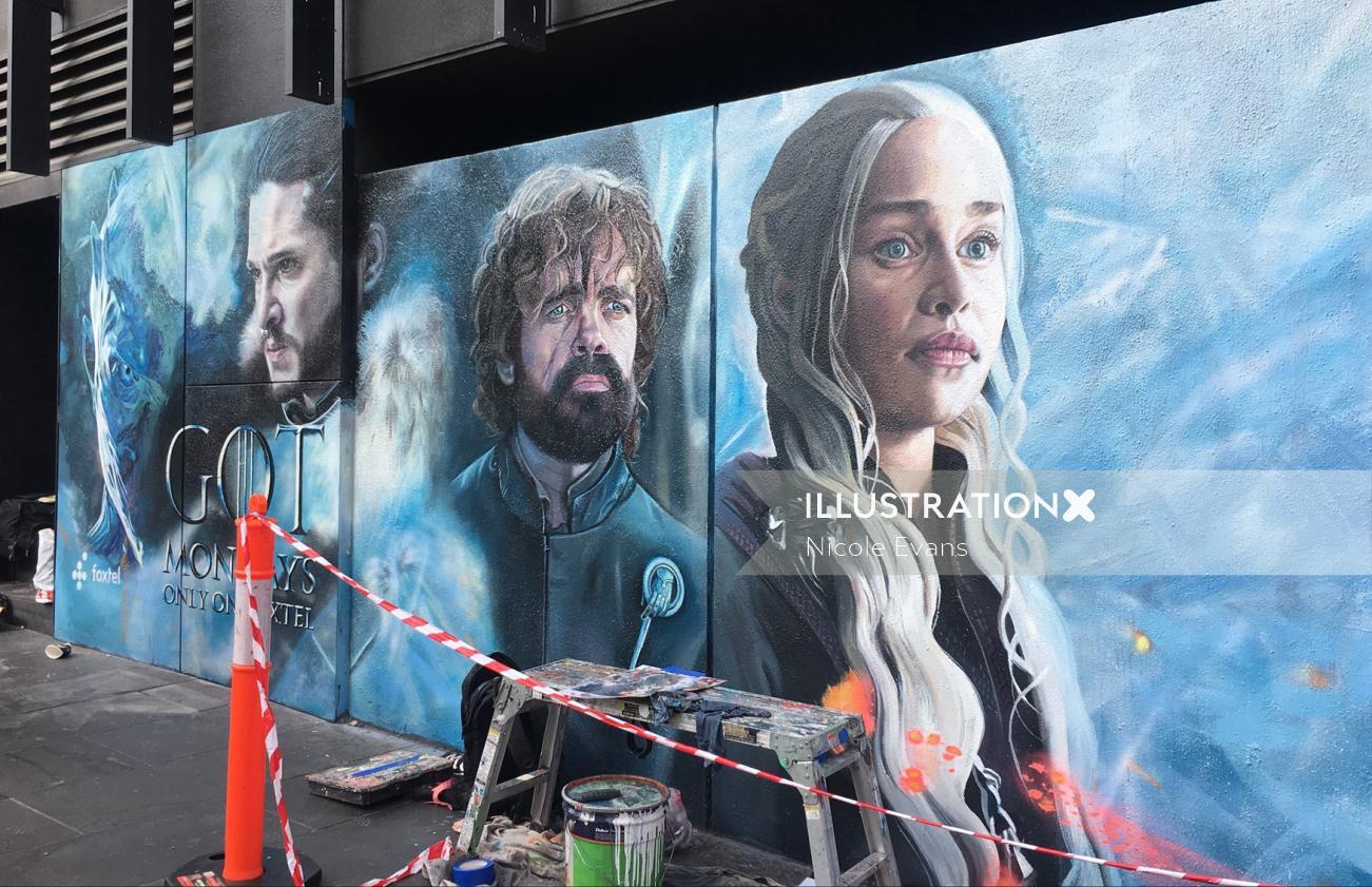 In situ shot of Game of Thrones mural in progress