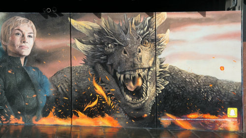Drogon section of Game of Thrones mural
