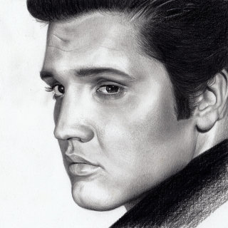 Elvis Presley black and white portrait