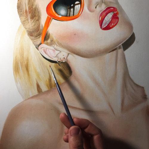 Candice Swanepoel lips sunglasses shoulder blonde