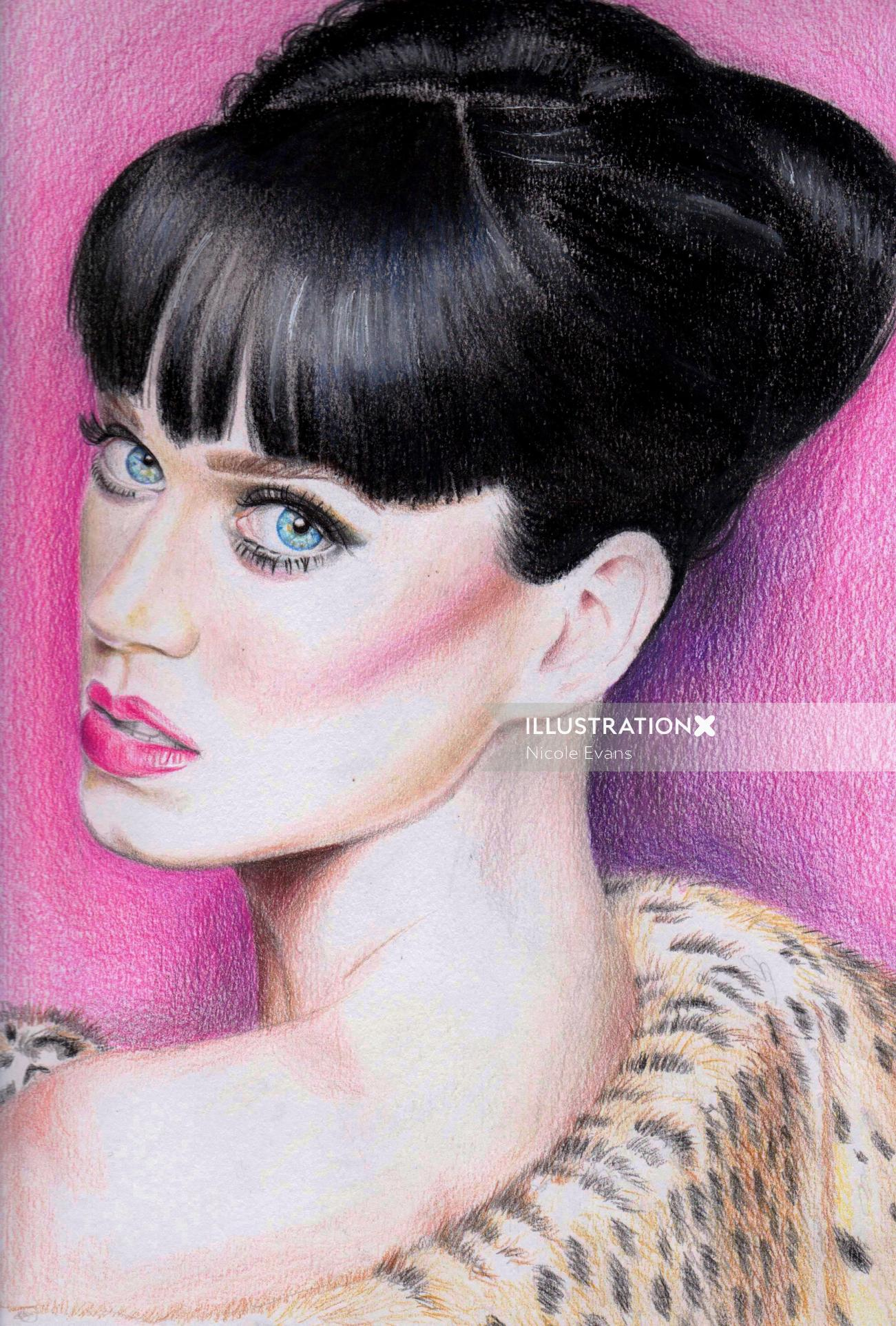 Colour Pencil Illustration Of Katy Perry