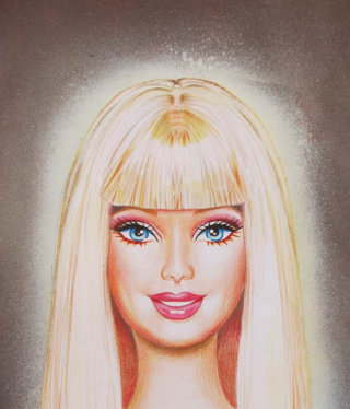 Mixed media portrait of saint barbie