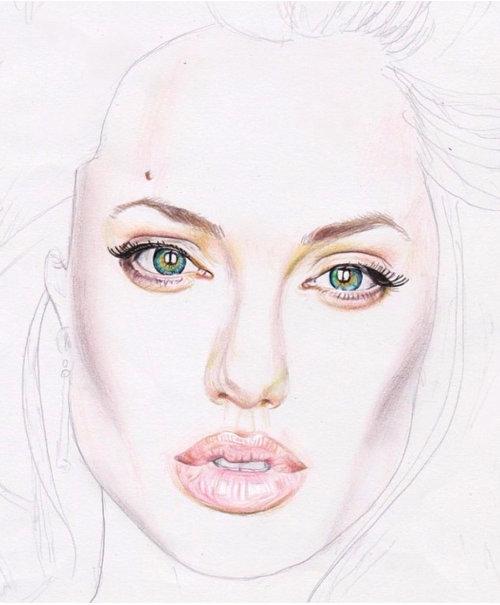 Pencil Sketch Of Angelina Jolie Portrait