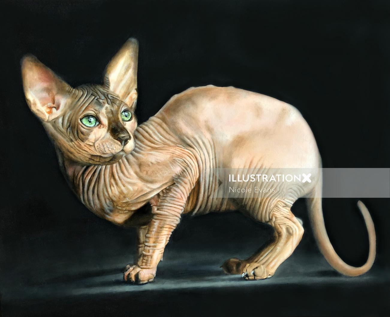 Sphynx cat oil painting