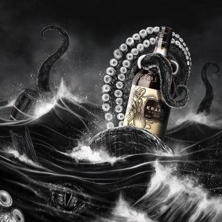 Kraken Rum mural design seascape