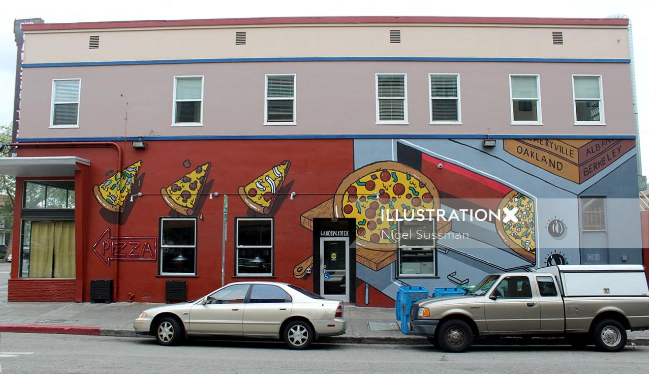 Pizza Mural Painting