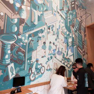 Japanese street scene mural
