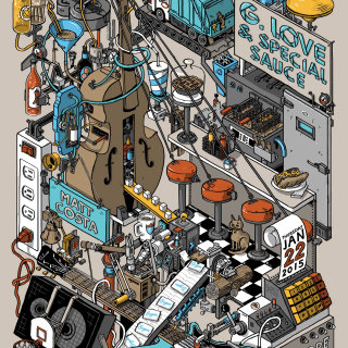 Complex isometric machine drawing for G. Love and special Sauce poster