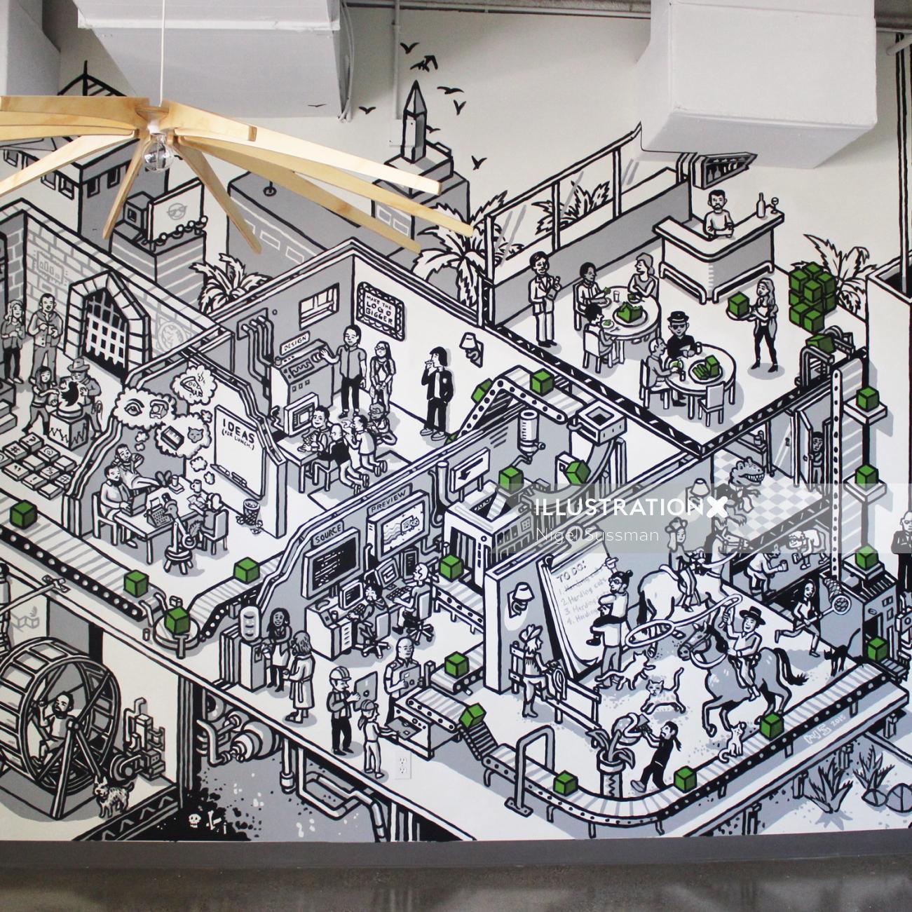Mural Art at Good People in Los Angeles