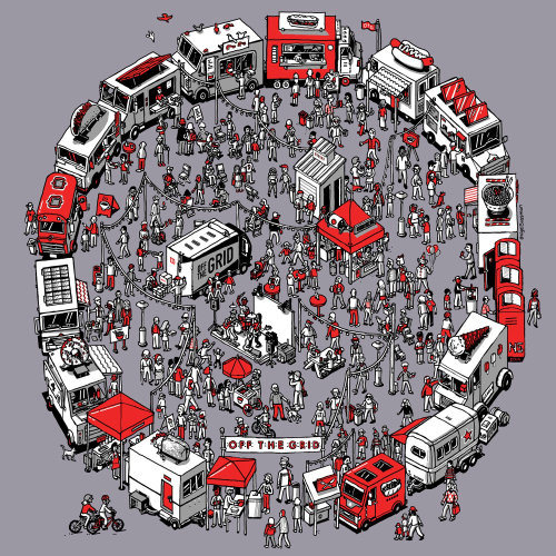 Isometric illustration of people at food trucks