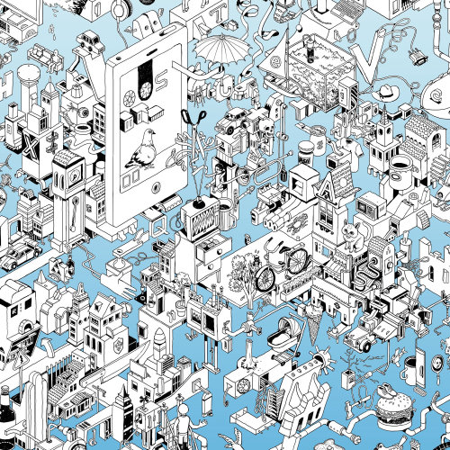 isometric wimmelbild drawing